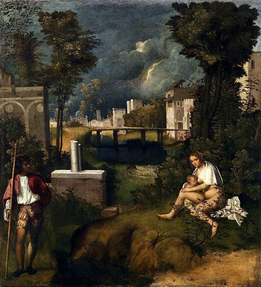 ジョルジョーネ「嵐」ヴェネチア、アカデミア美術館蔵
