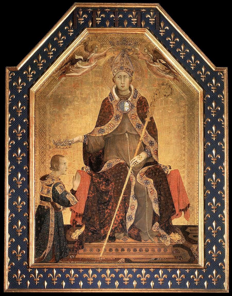 シモーネ・マルティーニ「ロベール・ダンジューに王冠を授けるトゥールーズの聖ルイ」ナポリ、カポディモンテ美術館蔵