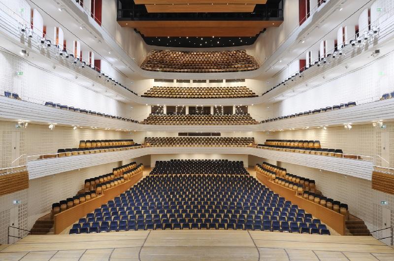 音楽祭会場となるルツェルン文化会議センター(KKL)コンサートホール